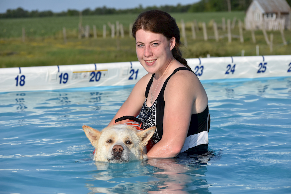 Owner holding a dog in the water