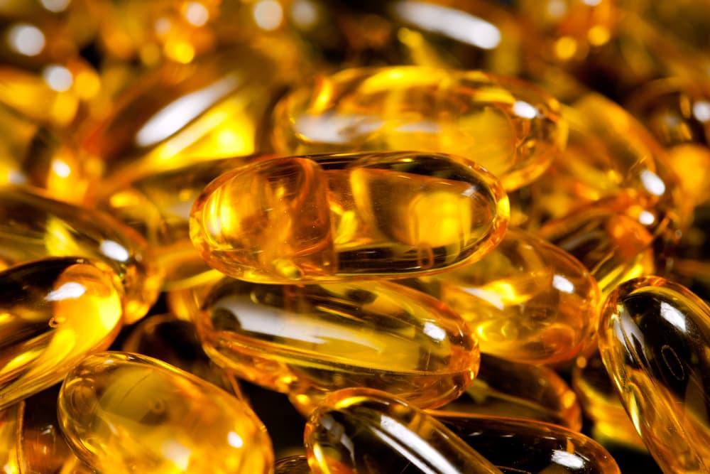 Close up of cod liver capsules