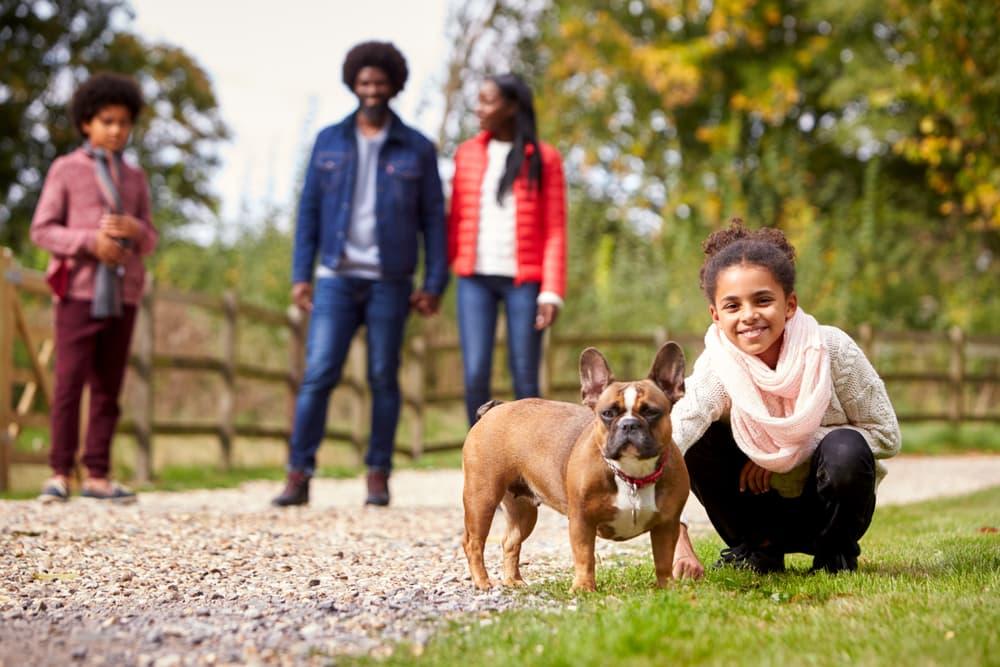 Family walking dog in park