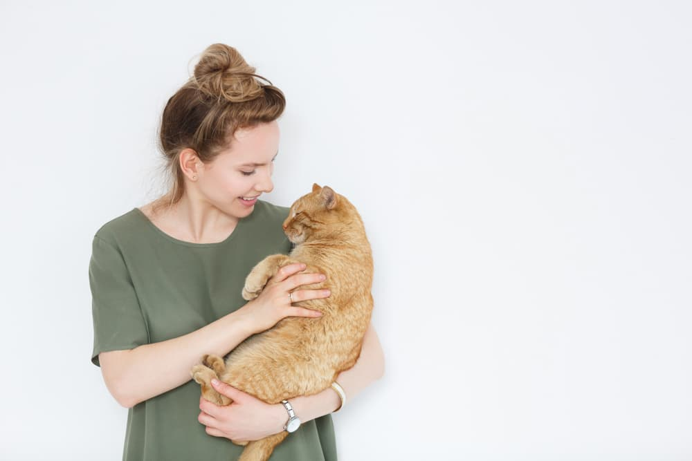 Woman holding a cat, cat is relaxed