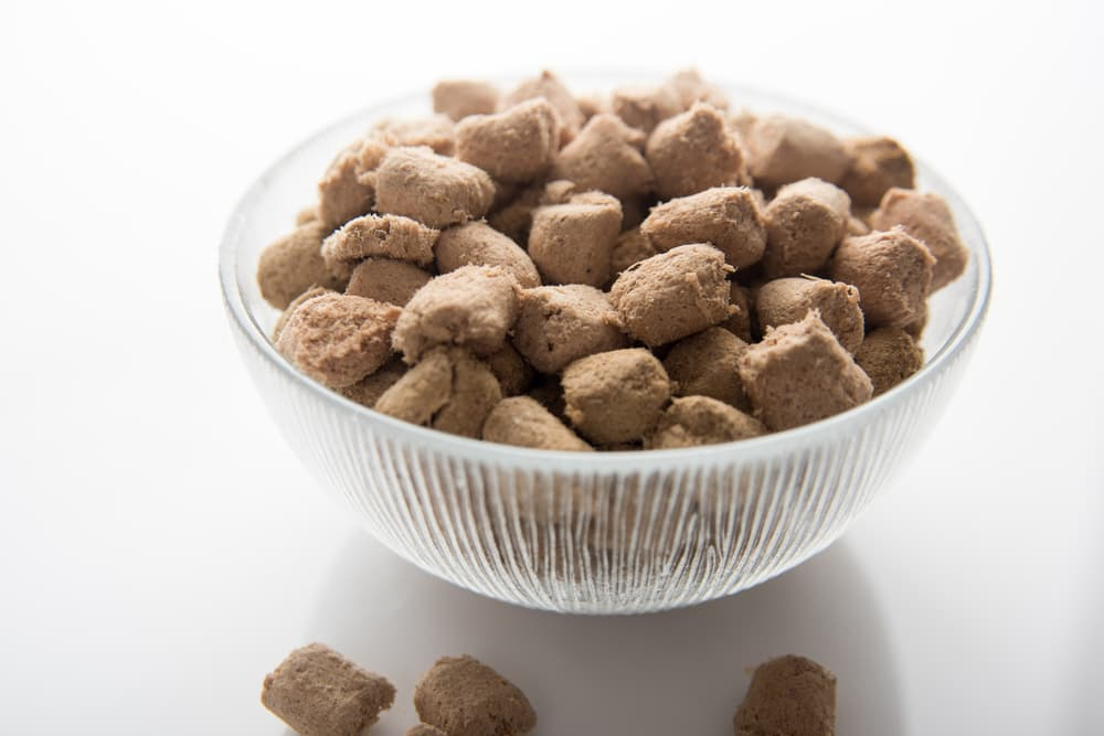 Clear bowl of freeze-dried dog food