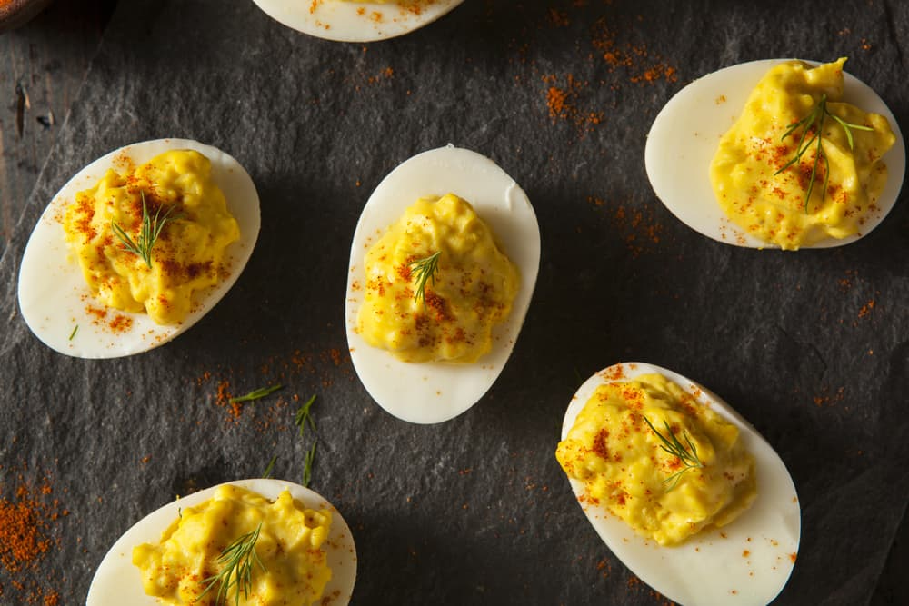 Deviled eggs on table