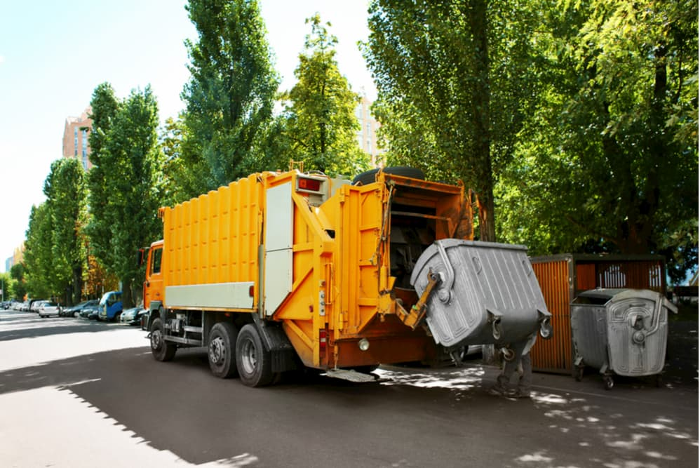 Garbage truck outdoors