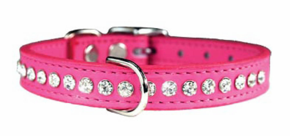 Pink leather dog collar with bling