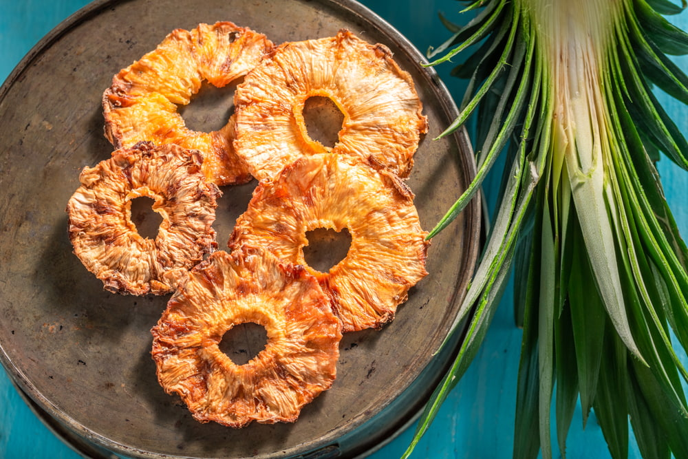 Dried pineapple on plate