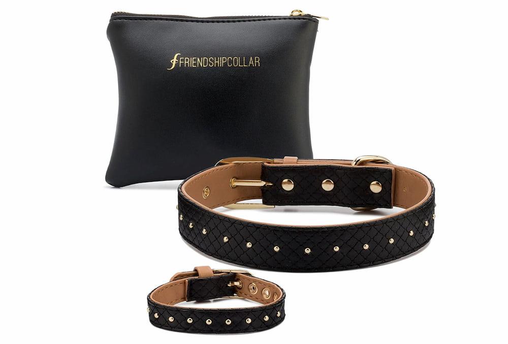 Fancy black leather collar and bracelet set