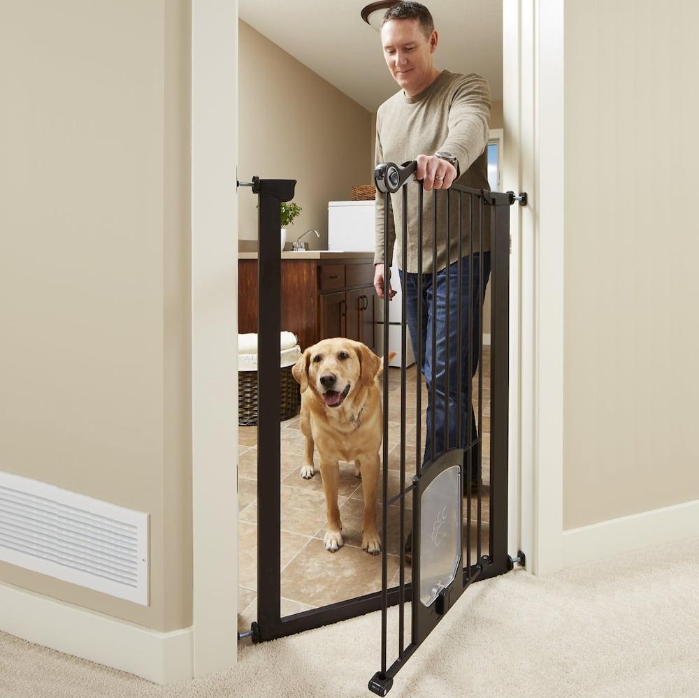 Man opening dog gate