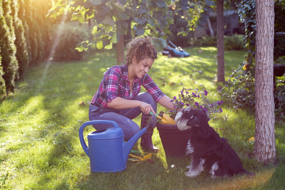Woman in garden with dog
