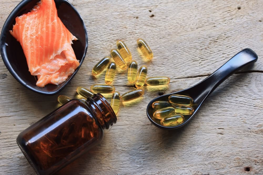 Fish oil on table