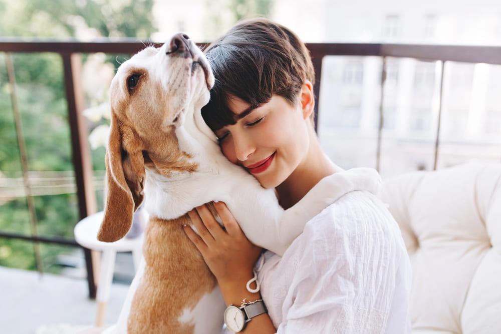 Woman hugging adopted Beagle