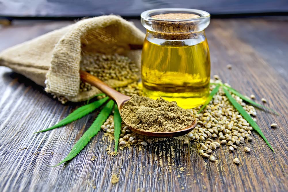 Hemp seed oil on table