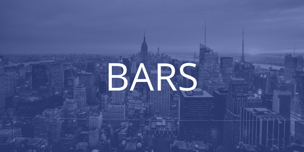 A New York skyline with a blue tint over it, the text introduces the bars section of the article