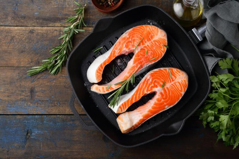Salmon filets in pan