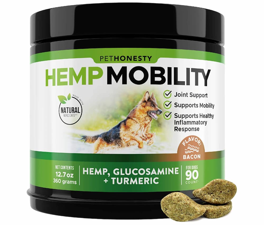 Jar of hemp mobility chews for dogs