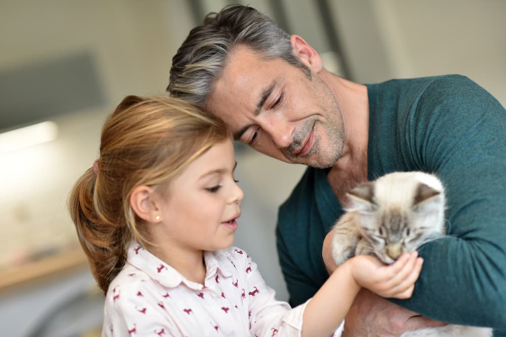 Little girl feeding her cat treats while her dad holds the cat