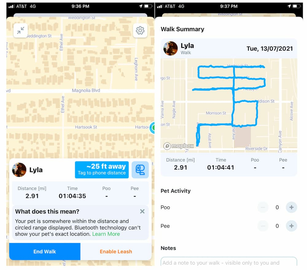 Overview of Pawscout in action, screenshots to see smart pet tag working and showing route for dog walk