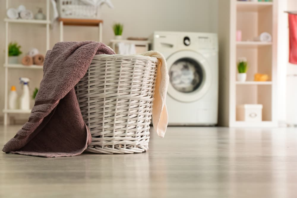 Laundry basket in laundry room