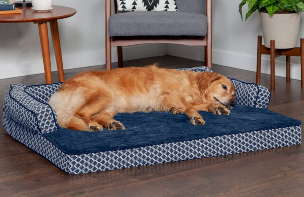 Dog laying down on lovely blue memory foam dog bed