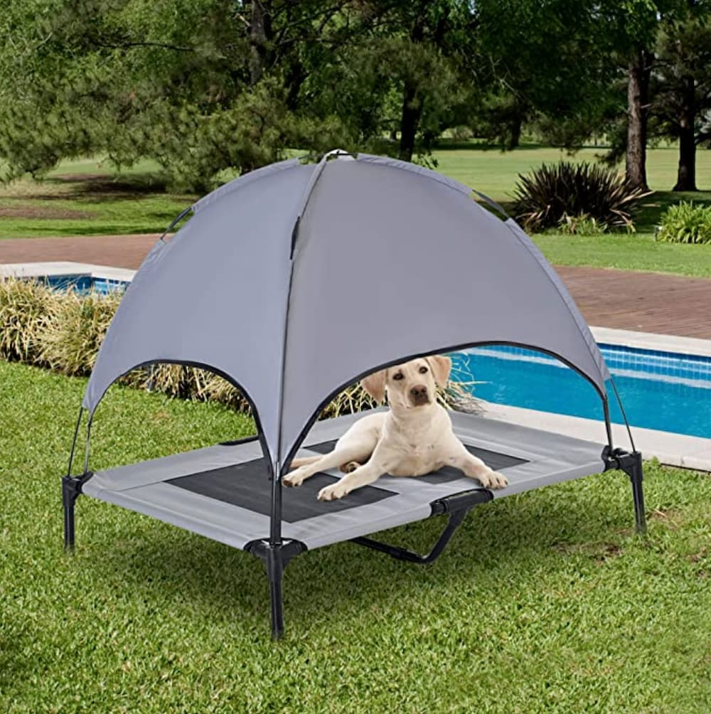 Dog laying in outdoor cooling pet bed with UV protection