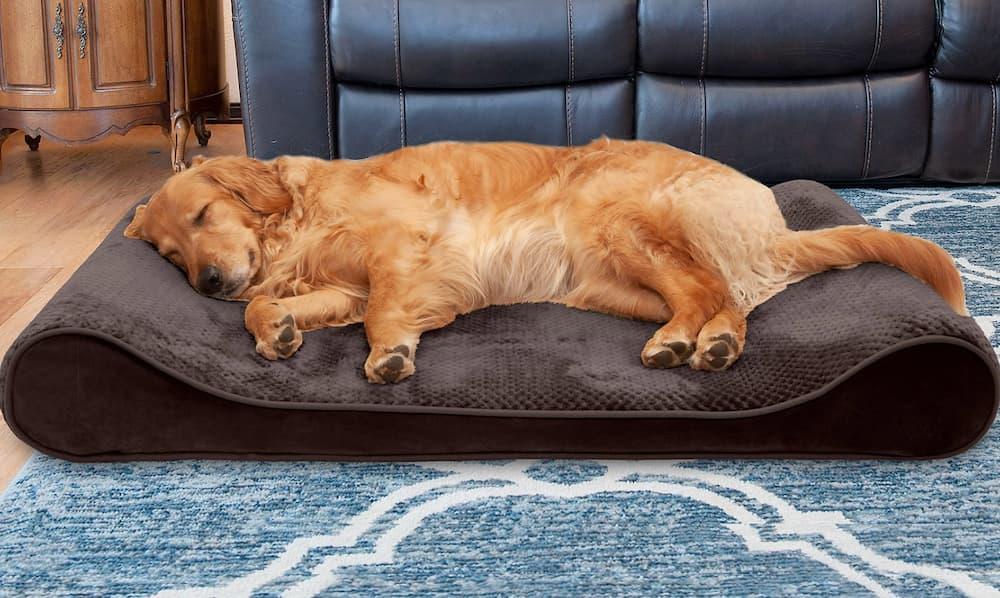 Dog laying down on plush cooling gel dog bed