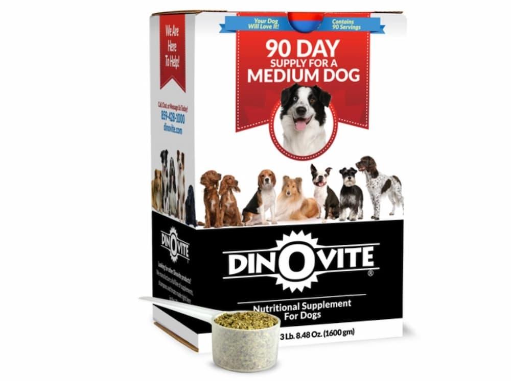 Box of dinovite dog food supplement