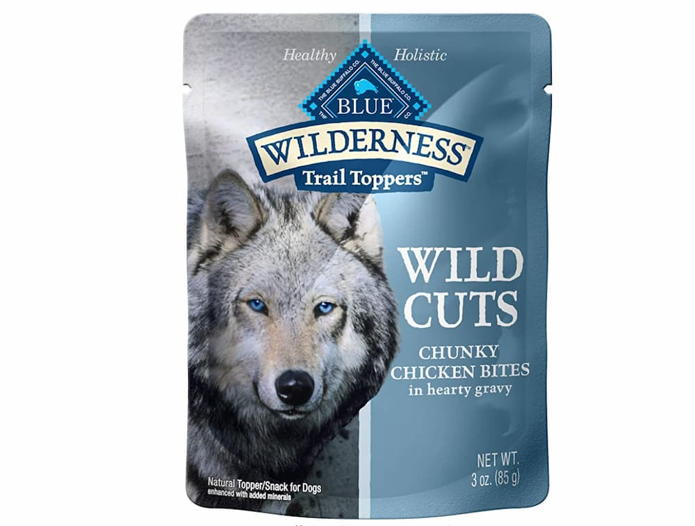 Bag of Blue Wilderness trail toppers - wild cuts chunky chicken bites