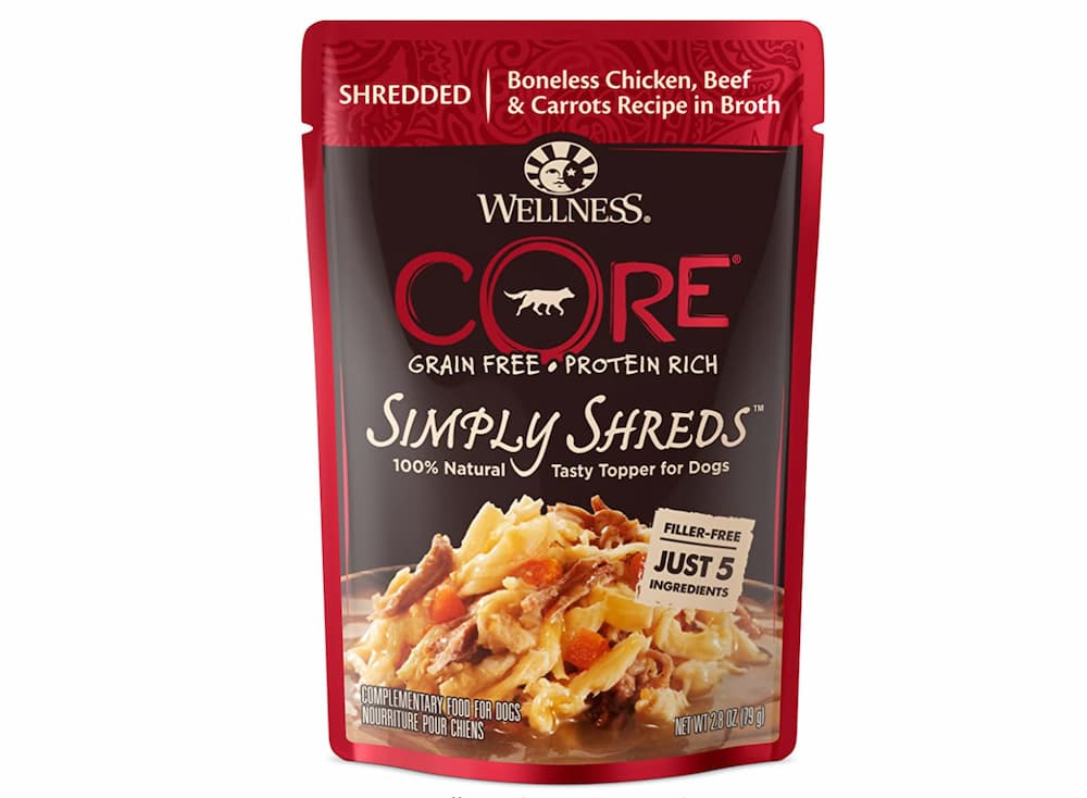 Bag of Wellness simply shreds dog food toppers