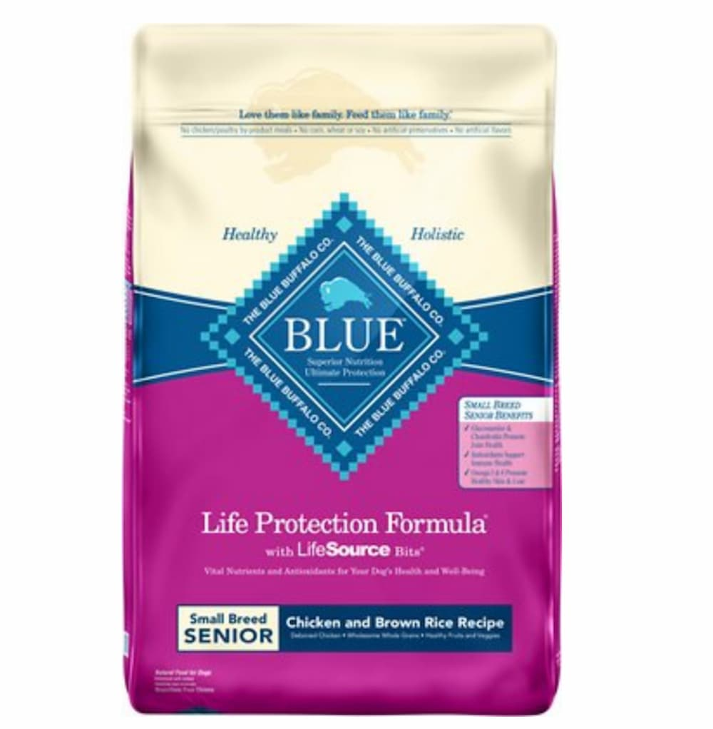 Bag of Blue Buffalo senior dog food formula