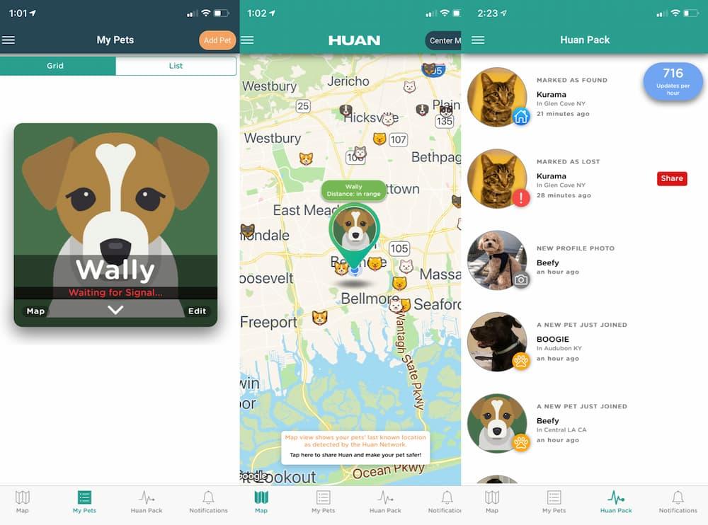 Screengrabs of Huan smart pet tracker in action