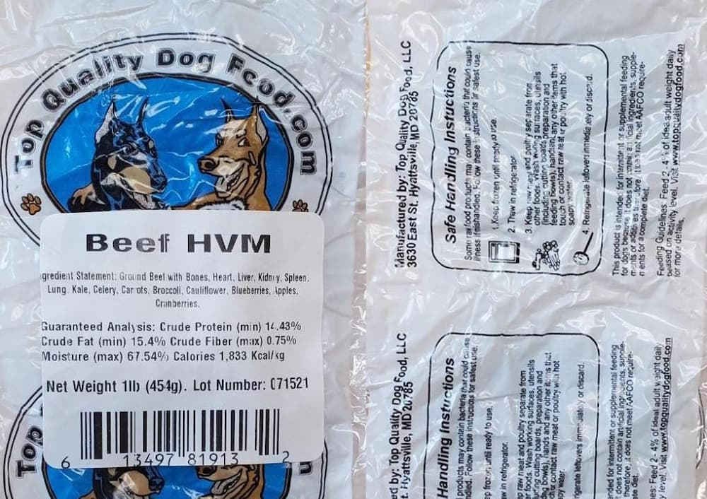 Top Quality Dog Food Recalls Beef Product Due to Potential Salmonella, Listeria Contamination