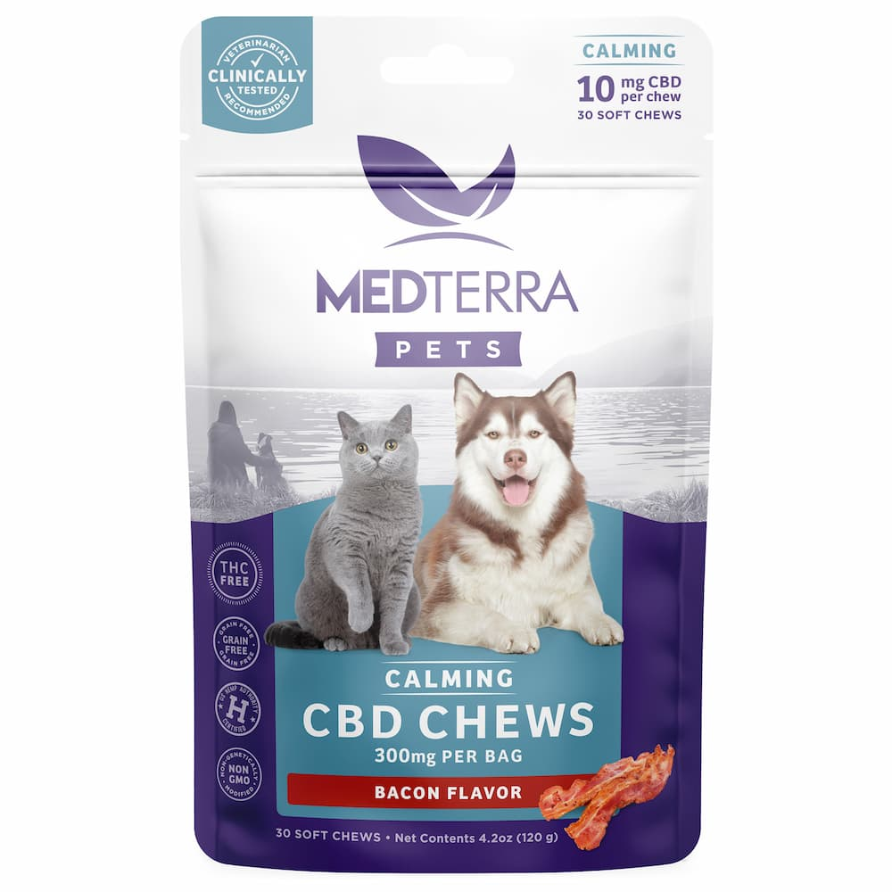 Bacon flavored chews from Medterra CBD for pets