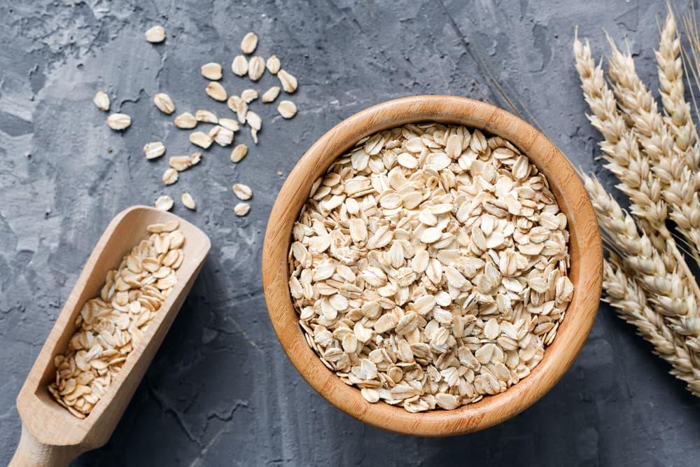 Big bowl of oats on a slate board