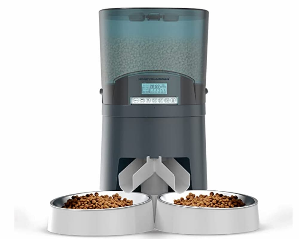 Cat Feeder, HoneyGuaridan Automatic Pet Feeder for Two pets