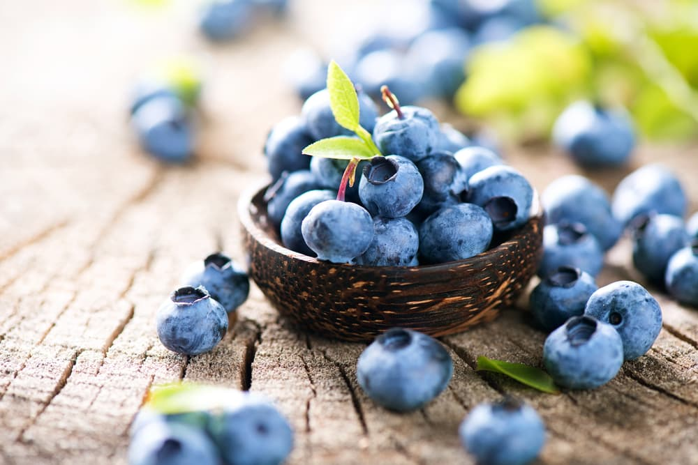 Blueberries on a table