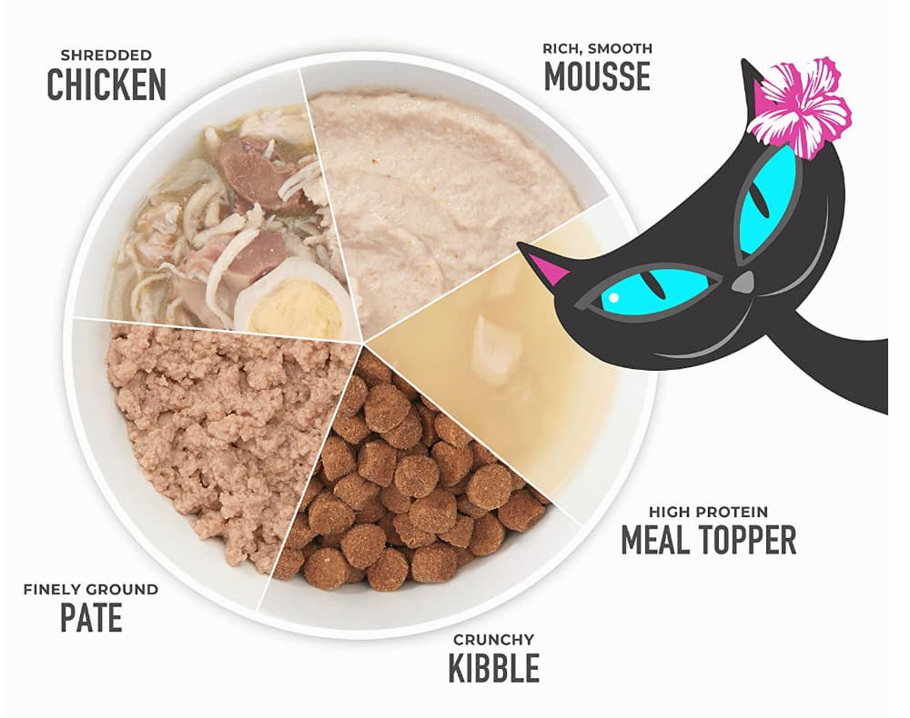 Tiki Cat variety with mix of different proudcts like pate, kibble, mousse, chicken