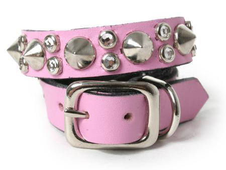 pink spiked dog collar with crystals