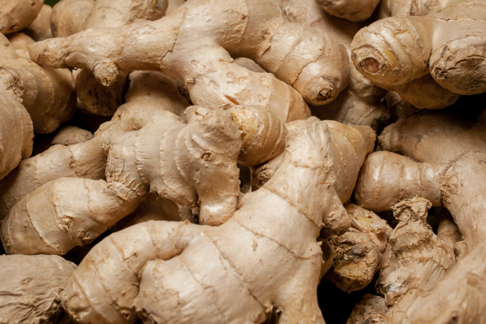 Closeup photo of ginger root